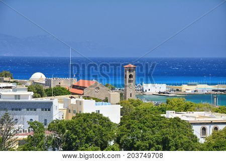 RHODES GREECE - JULY 17 2016 : View on Mandraki harbour in Rhodes town