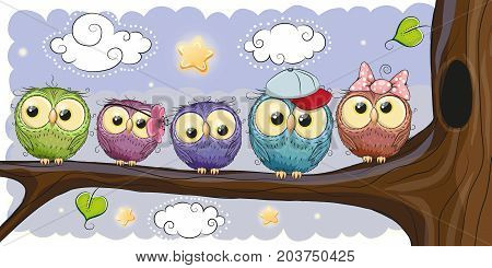 Five Cute Owls is sitting on a brunch