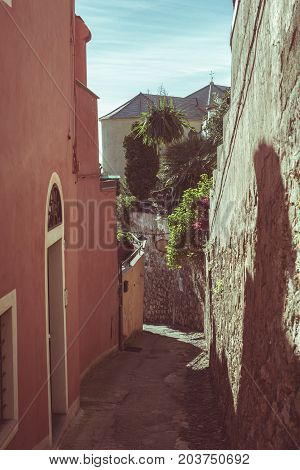 Narrow Alleys, Historical Old Ancient Town In Italy, Architectural Details, Toned Image, Vintage Fil