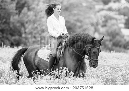 Young rider girl with long hair riding bay horse on camomile field