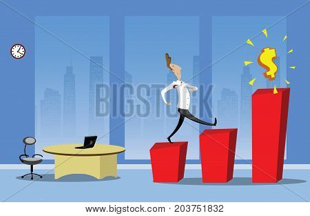 Businessman stepping up the stairs to the financial success. Business growth step infographics option. Vector