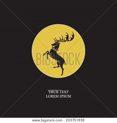 Stag noble in a circle. Fantasy Stag image.Emblem, sticker. Vector image with text on black background. Design banners, icons for a website, for printing on fabric or on paper.