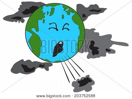 Illustration of a coughing planet Earth with bad clouds