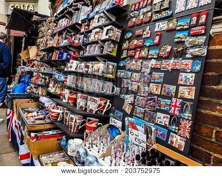 London Souvenir Memorabilia Shop In London (hdr)