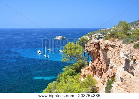 Scenic View From The Cliff On Turquise Balearic Sea