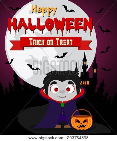 Halloween background with kid dracula .Vector illustration