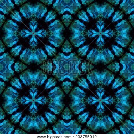 mosaic kaleidoscope seamless pattern texture background - blue and turquoise colored with four rings with cross in the middle
