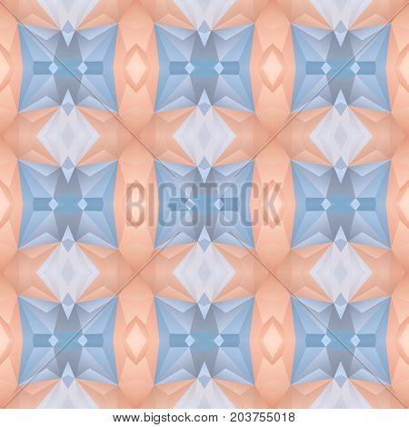 mosaic kaleidoscope seamless pattern texture background - colored with salmon pink and icy blue color