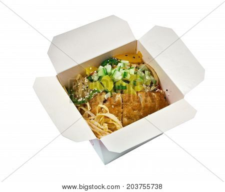 Pork Roasted And Udon-noodle. Take-out Food