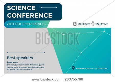 Science conference invitation concept. Advertising of scientific seminar. Colorful simple geometric background. Template for banner, poster, flyer, magazine page. Vector eps 10.