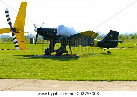 Airshow of small private aircraft on the airfield. Day of the city. Zhitomir of the year 1133. September 2017 Ukraine.
