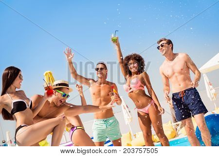 Cropped Shot Of Chilling, Dancing International Youth, Enjoying On Resort Beach Pool Sunny Disco, In