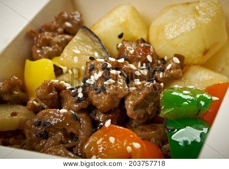 Take-out Food - Beef Slice  And Potato.