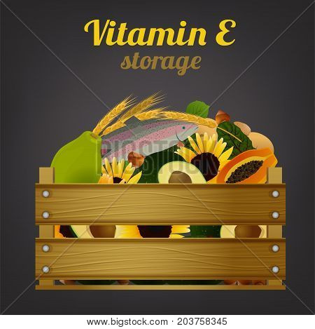 Wooden crate with tropical fruits. Vitamin C storage concept. Ripe lemons, oranges and grapefruits in fruiterer box. Vector illustration isolated on a dark grey background.