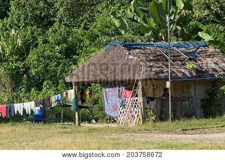June 6 2017 Misahualli Ecuador: small habitation shacks made of wood planks in the Amazon area