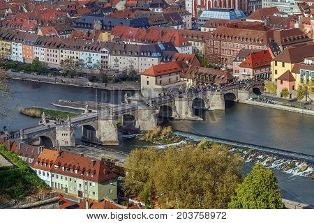 Alte Mainbrucke (old bridge) was erected from 1473 to 1543 Wurzburg Germany. View from Fortress Marienberg