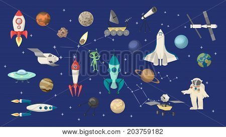 Space objects set. Rockets and shuttle, astronauts and aliens.