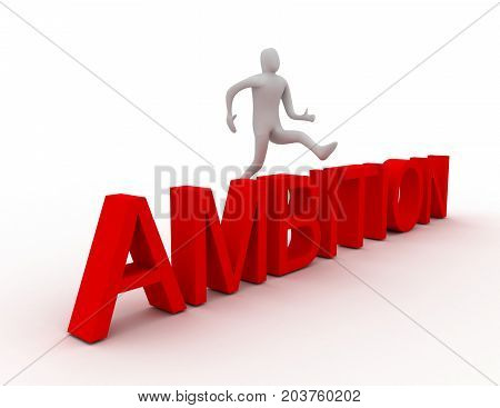 3d man jumping over word ambition . 3d rendered illustration