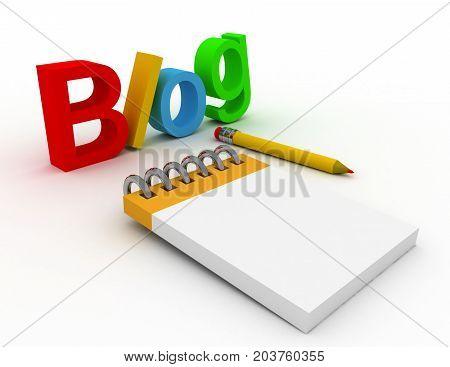 3d blog concept . 3d rendered illustration