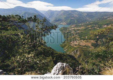 Tara National Park , Serbia. View from famous Banjska stena, Drina river in the distance, summertime