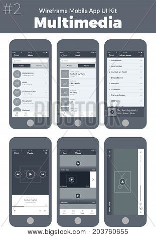 Wireframe UI kit for mobile phone. Mobile App Multimedia. Video, music, albums, artists, tracks and playing screens