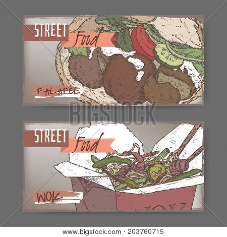 Two color landscape banners with falafel and wok noodles in a box sketch on grunge background. Asian cuisine. Street food series. Great for market, restaurant, cafe, food label design.