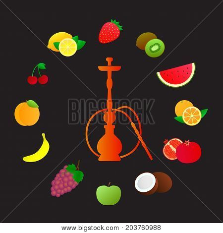 Hookah silhouette with different fruit flavors. Various flavor additives. Vector circle illustration for hookah menu.