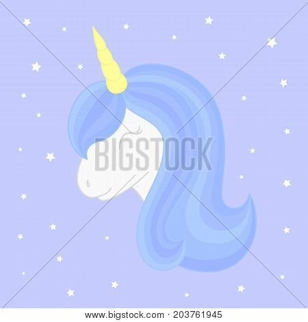 Cute sleeping unicorn on starry background. Vector unicorn head with beautiful blue mane and horn.
