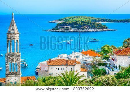 Amazing coastline view at town Hvar scenery in Croatia, Mediterranean summertime.