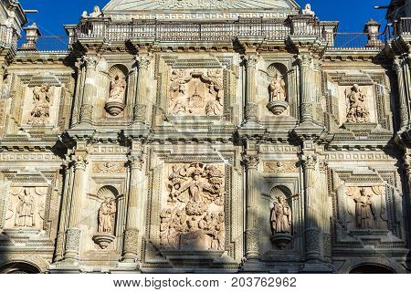 Details on Our Lady of the Assumption church in Oaxaca Mexico