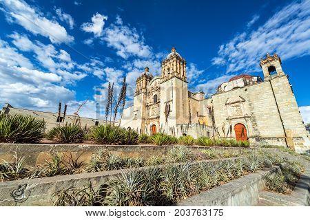 Wide angle view of the historic Santo Domingo church in Oaxaca Mexico