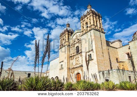 Santo Domingo church in Oaxaca Mexico with a beautiful blue sky