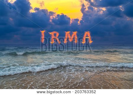 Storm clouds beach Miami sky over sea background hot tropical sunset sky over sea Hurricane Irma Key West Florida.