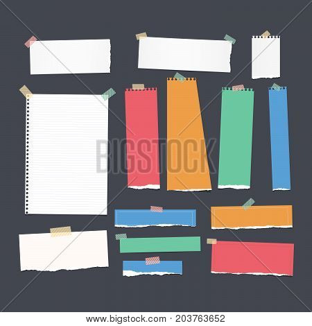 Ripped white and colorful ruled note, notebook, copybook paper strips, sheet stuck with sticky tape on black background