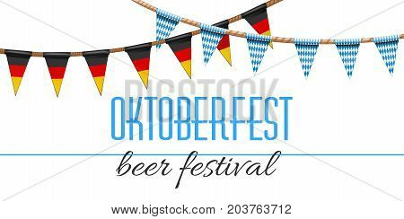 Oktoberfest decoration. Beer festival decorated in traditional colors of the German and Bavarian flags. Garlands with a blue-white checkered pattern and German tricolor. Vector illustration