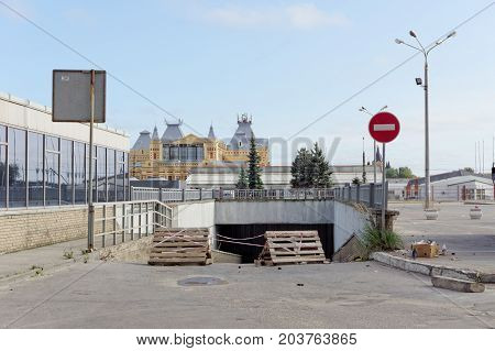 Nizhny Novgorod, Russia. - September 04.2017. Repair of the tunnel under the Lenin Square. The end of the tunnel from the side of Lenin Square.