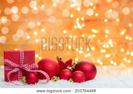 Christmas background with decorations and gift box