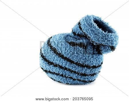 roll sock isolated on white background, close up roll of blue socks after washing