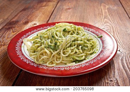 Italian pasta spaghett with Pesto Genovese , close up meal