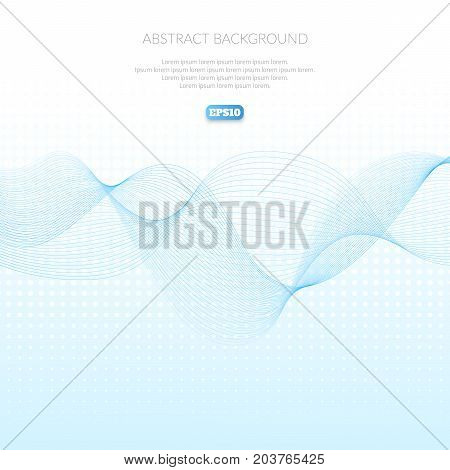 Abstract background with geometric pattern of lines. Wave and distortion of forms. Glide in the air. Coloured smoke.