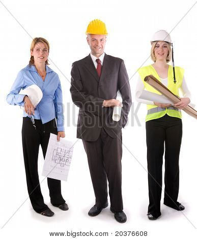 team of young architects or construction engineers