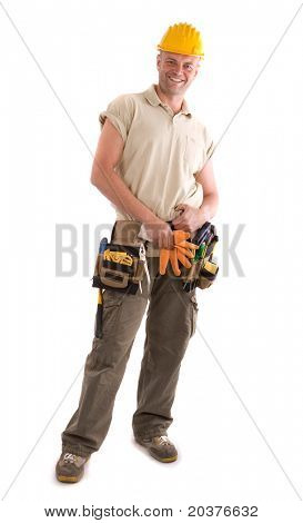 whole figure of a construction worker