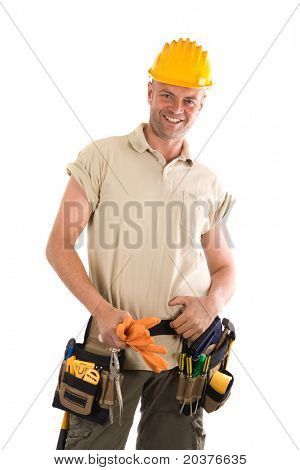 handyman or constructor with tools