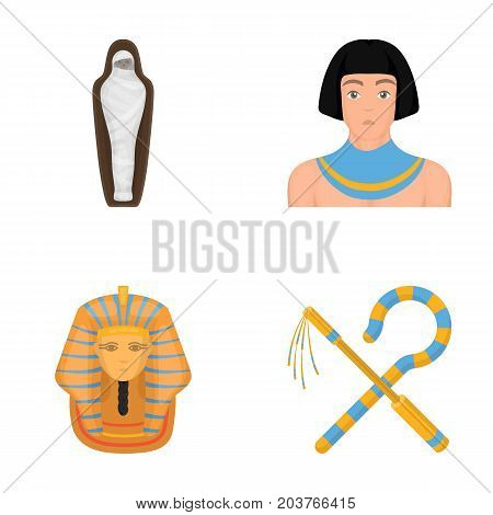 Crook and flail, a golden mask, an egyptian, a mummy in a tomb.Ancient Egypt set collection icons in cartoon style vector symbol stock illustration .