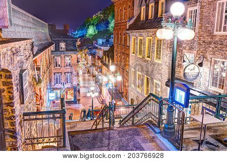 Quebec City, Canada - May 30, 2017: Escalier Casse-cour On Lower Old Town Street Rue Du Petit Champl