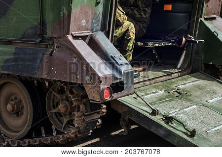 The M113 armored personnel carrier and solders