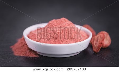 Portion Of Strawberry Powder On A Slate Slab