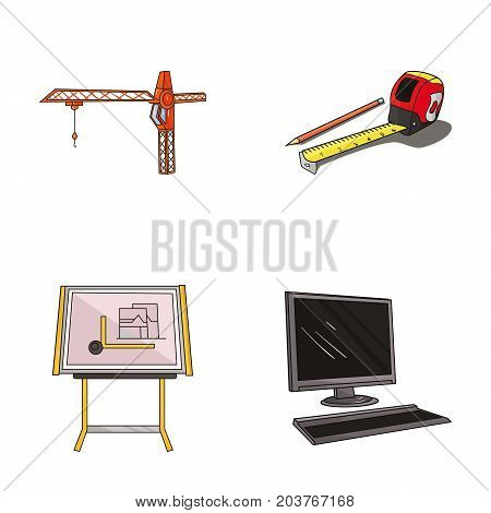 Construction crane, measuring tape measure, drawing board, computer. Architecture set collection icons in cartoon style vector symbol stock illustration .