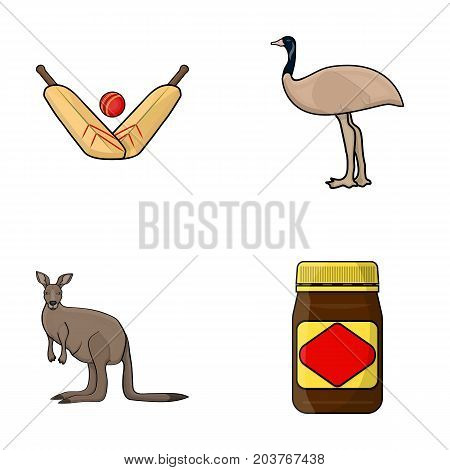 A game of cricket, an emu ostrich, a kangaroo, a popular food.Australia set collection icons in cartoon style vector symbol stock illustration .