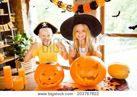 We Like Halloween! Close Up Portrait Of Two Little Brother And Sister - Blond Small Wizard And Pirat